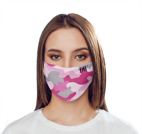 Personalised Pink Camo Initials Face Mask