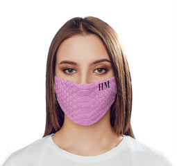 Personalised Pink Snake Skin Initials Reusable Face Mask