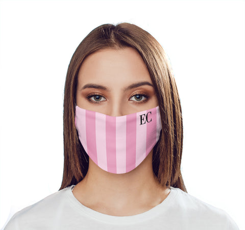 Personalised Pink Stripes Initials Face Mask