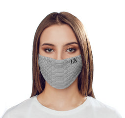Personalised Grey Snake Skin Initials Reusable Face Mask