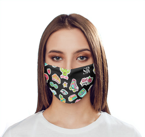 Personalised Sticker Initials Face Mask
