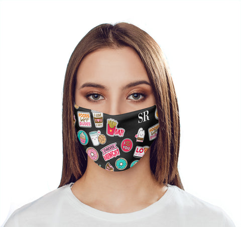 Personalised Foodie Sticker Initials Face Mask
