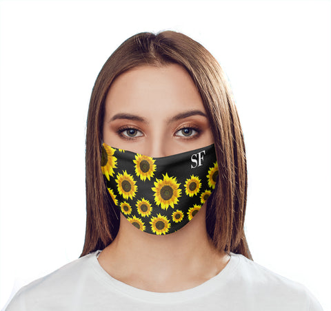 Personalised Sunflower Initials Face Mask