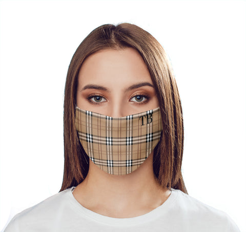 Personalised Brown Tartan Initials Face Mask