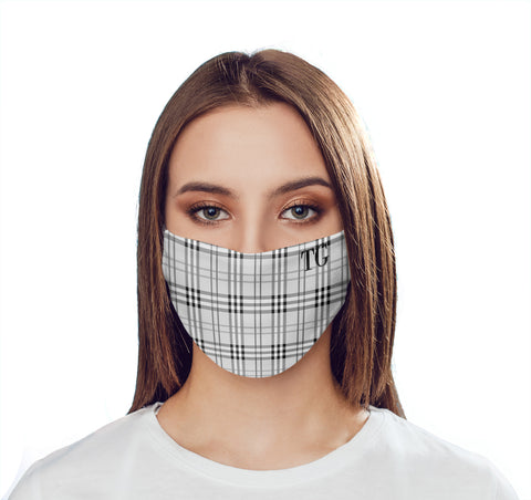 Personalised Grey Tartan Initials Face Mask