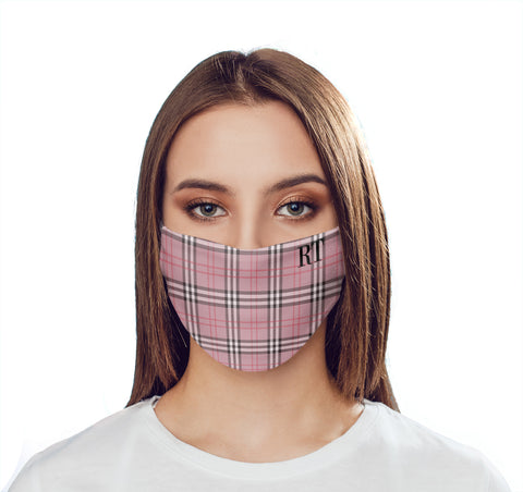 Personalised Red Tartan Initials Face Mask