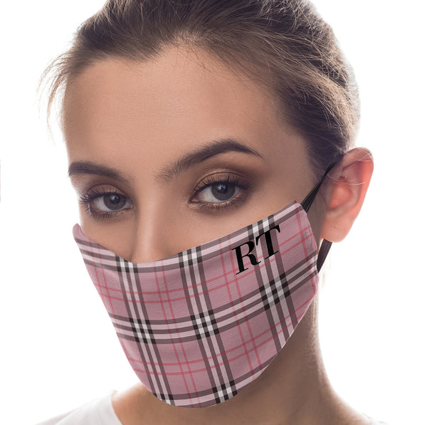 Personalised Red Tartan Initials Reusable Face Mask