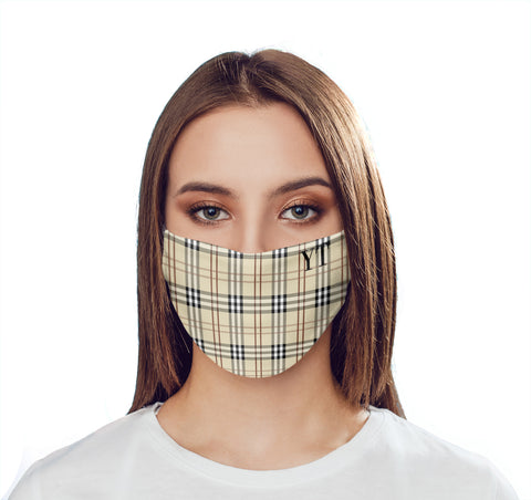 Personalised Yellow Tartan Initials Face Mask