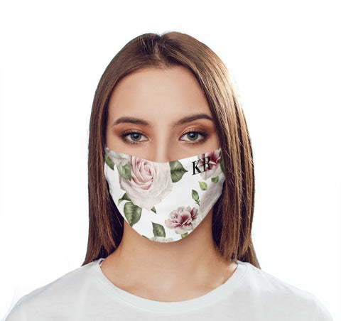 Personalised White Floral Rose Initials Face Mask