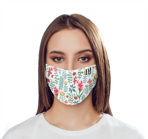 Personalised White Flower Pattern Initials Face Mask