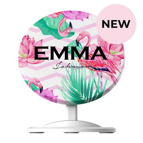 Personalised Flamingo Name Wireless Charger