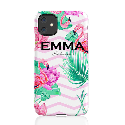 Personalised Flamingo Name iPhone 11 Case