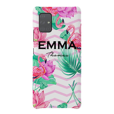 Personalised Flamingo Name Samsung Galaxy A51 5G Case