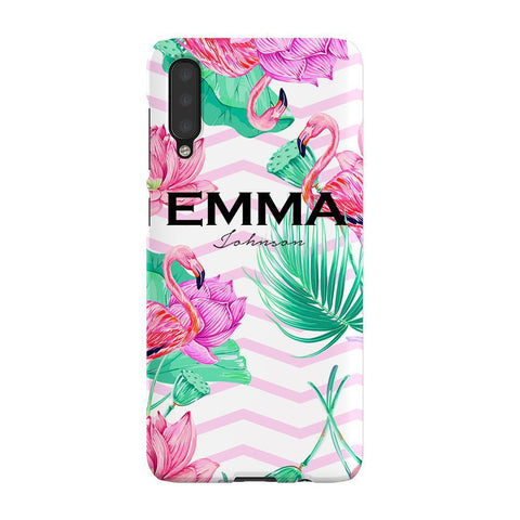 Personalised Flamingo Name Samsung Galaxy A50 Case