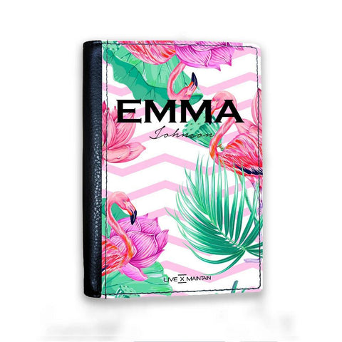 Personalised Flamingo Name Passport Cover