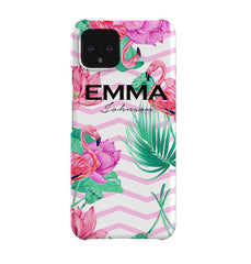 Personalised Flamingo Name Google Pixel 4 Case