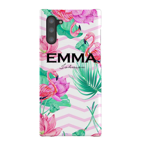Personalised Flamingo Name Samsung Galaxy Note 10 Case