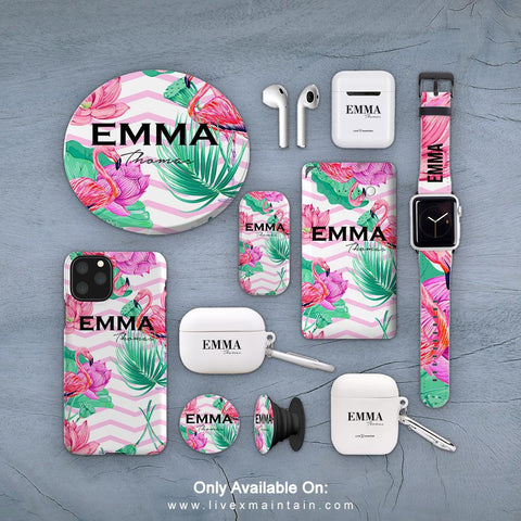 Personalised Flamingo Phone Case Accessories Package