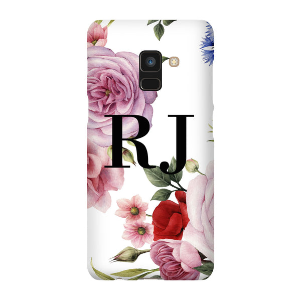 Personalised Floral Blossom Initials Samsung Galaxy A8 Case