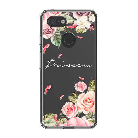 Personalised Clear Watercolor Floral Google Pixel 3 XL Case