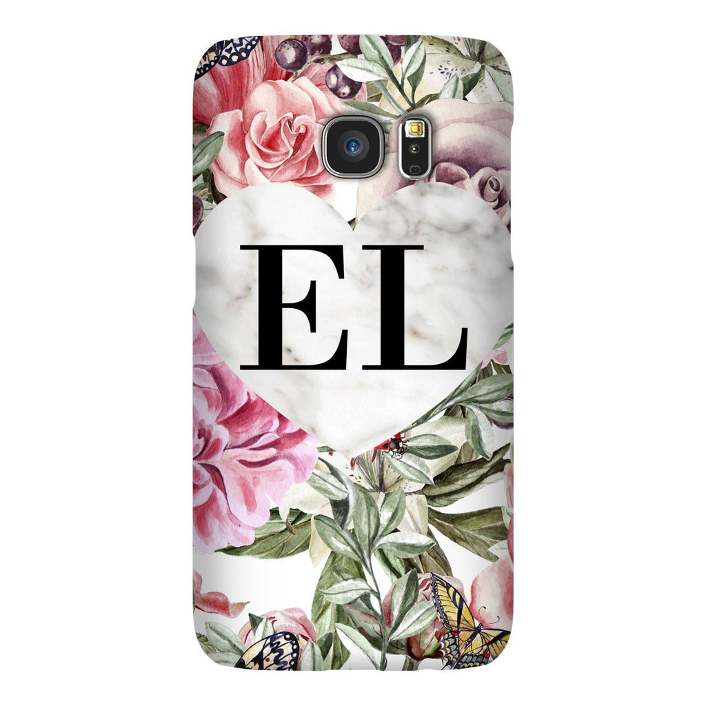 Personalised Floral Marble Heart Initials Samsung Galaxy S7 Case