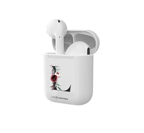 Personalised Floral Initial Smart Earbuds
