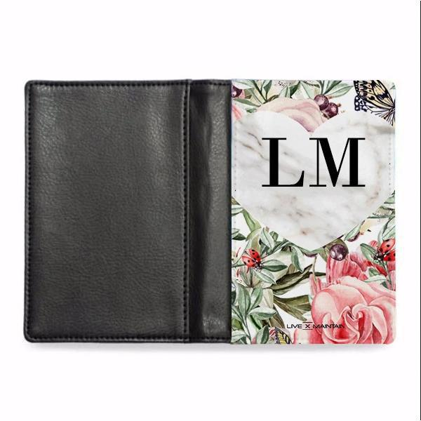 Personalised Floral Marble Heart Initials Passport Cover