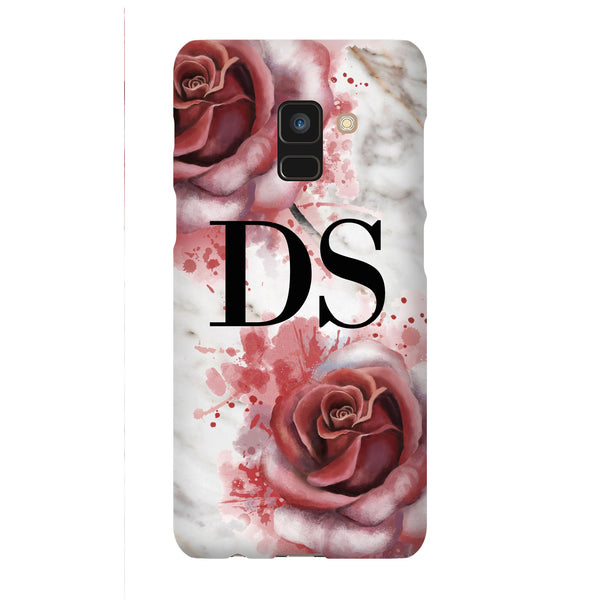Personalised Floral Rose x White Marble Initials Samsung Galaxy A8 Case
