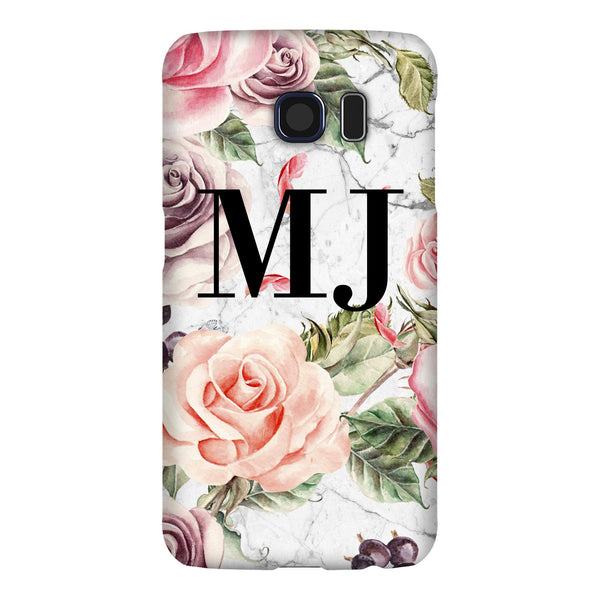 Personalised Watercolor Floral Initials Samsung Galaxy S6 Case