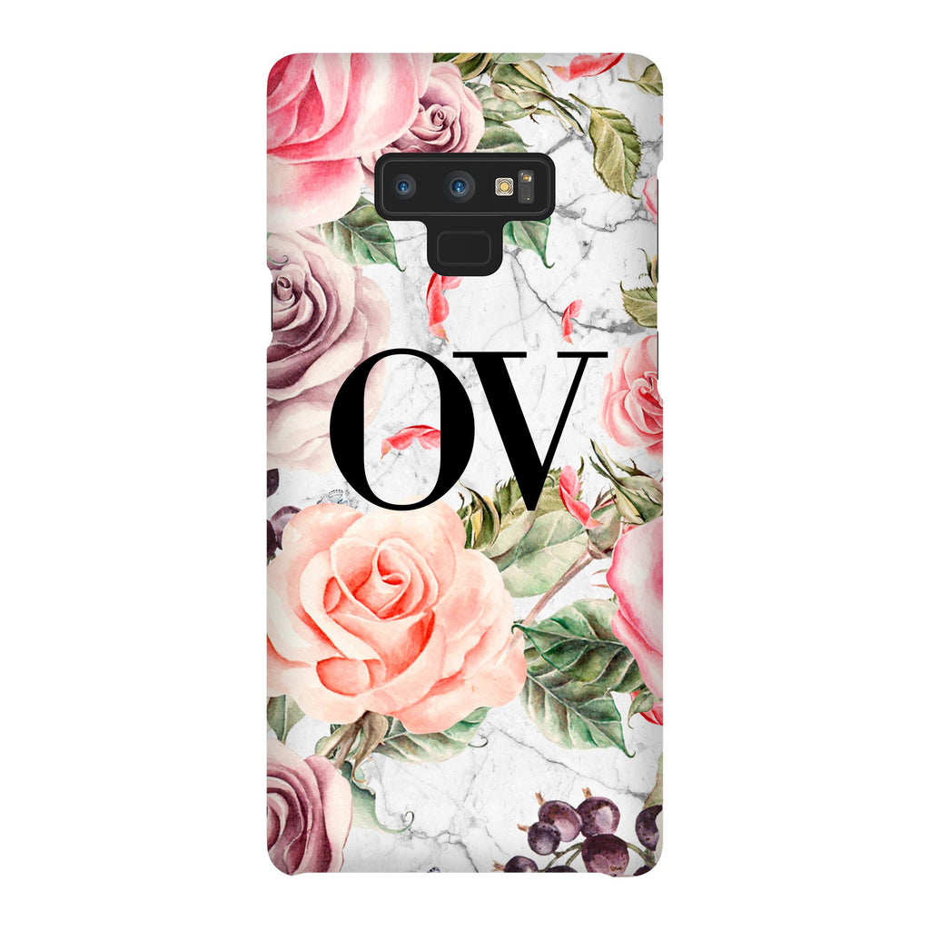 Personalised Watercolor Floral Initials Samsung Galaxy Note 9 Case