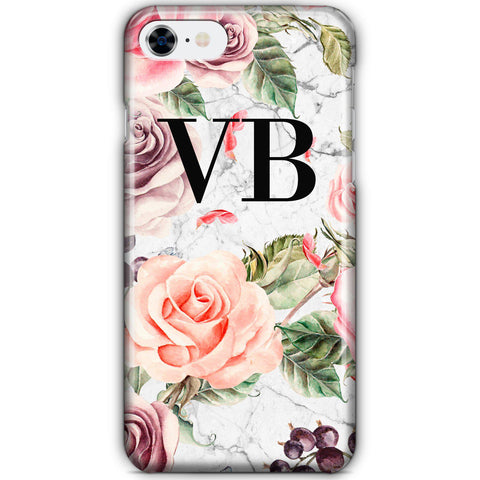 Personalised Watercolor Floral Initials iPhone 8 Case