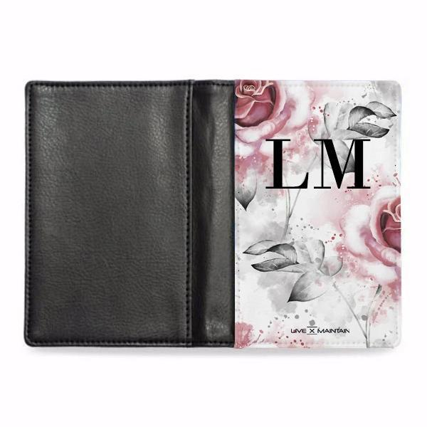 Personalised Floral Rose Initials Passport Cover