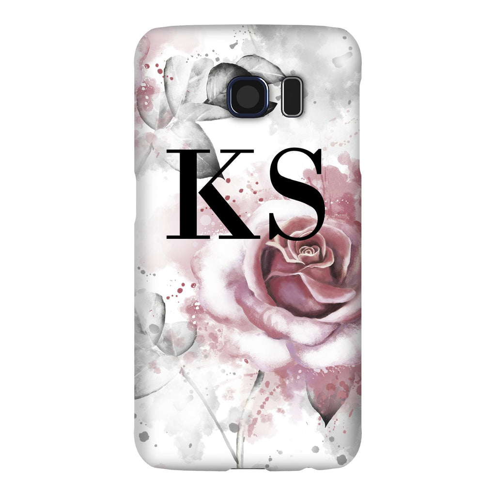 Personalised Floral Rose Initials Samsung Galaxy S6 Case
