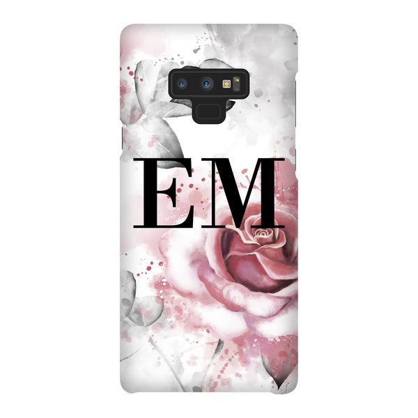 Personalised Floral Rose Initials Samsung Galaxy Note 9 Case