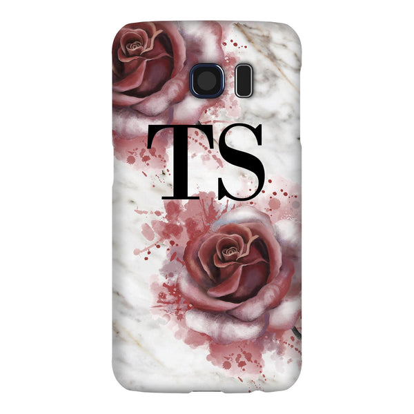 Personalised Floral Rose x White Marble Initials Samsung Galaxy S6 Case