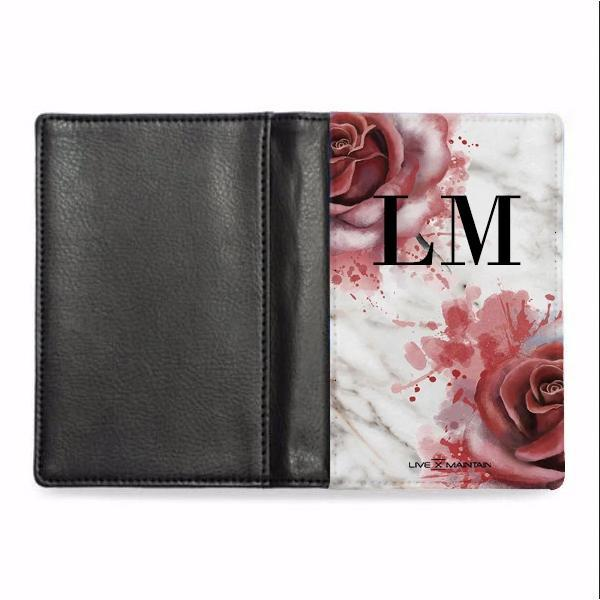 Personalised Floral Rose x White Marble Initials Passport Cover