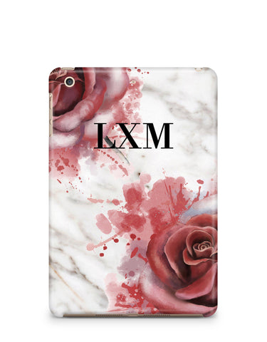 Personalised Floral Rose x White Marble Initials iPad Case
