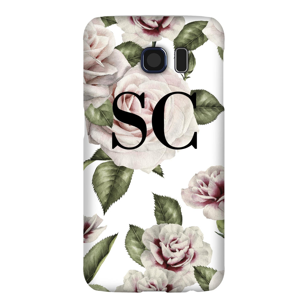 Personalised White Floral Rose Initials Samsung Galaxy S6 Edge Case