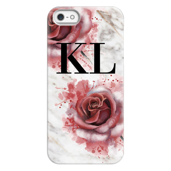 Personalised Floral Rose x White Marble Initials iPhone 5/5s/SE (2016) Case