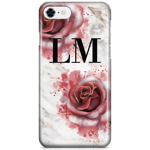 Personalised Floral Rose x White Marble Initials iPhone 8 Case