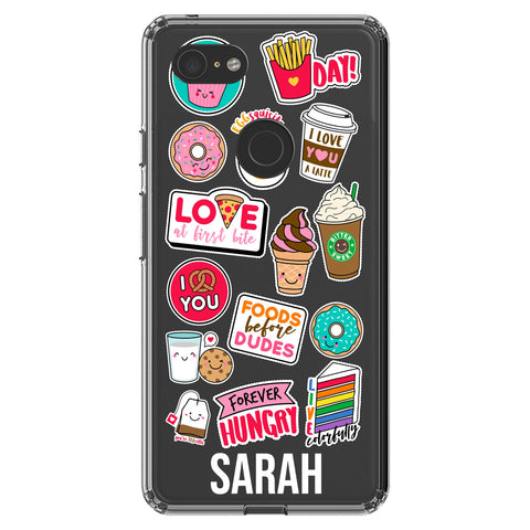 Personalised Foodie Sticker Google Pixel 3 XL Clear Case