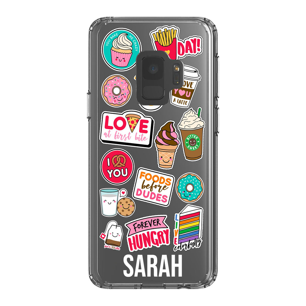 Personalised Foodie Sticker Samsung Galaxy S9 Clear Case