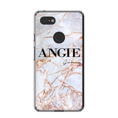 Personalised Fragment Marble Name Google Pixel 3 XL Case