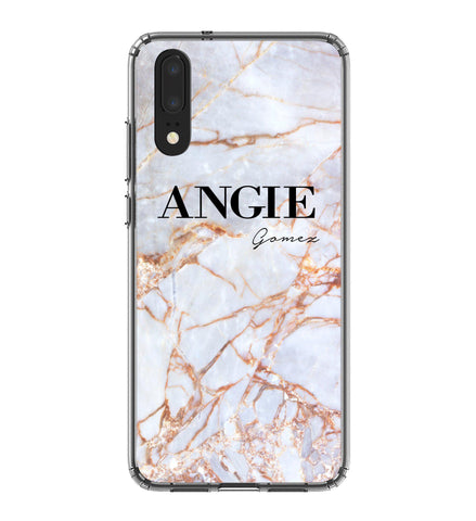 Personalised Fragment Marble Name Huawei P20 Case