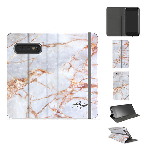Personalised Fragment Marble Name Samsung Galaxy S10 Plus Case