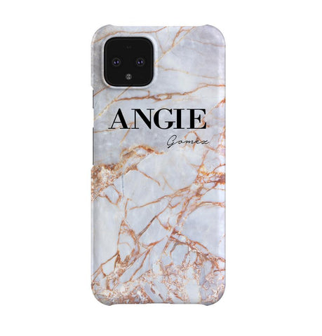 Personalised Fragment Marble Name Google Pixel 4 Case
