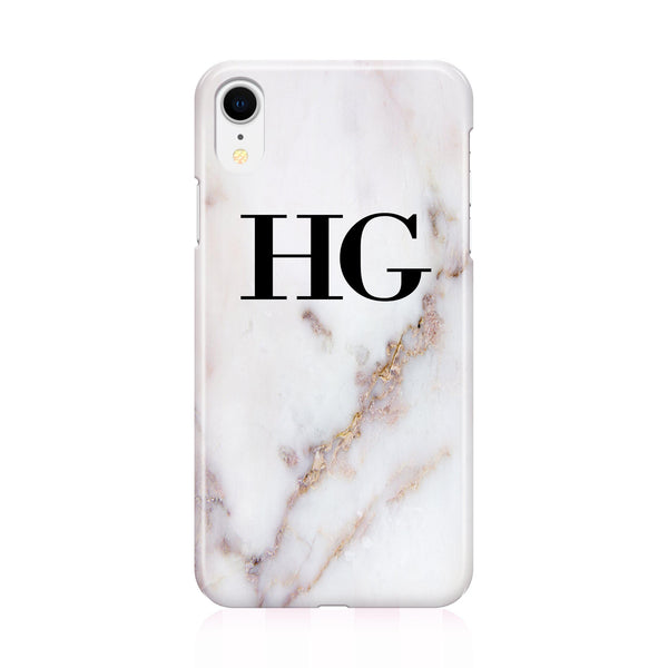 Personalised Gold Stained Marble Initials iPhone XR Case