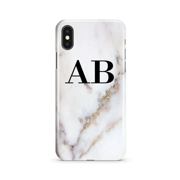 Personalised Gold Stained Marble Initials iPhone XS Case