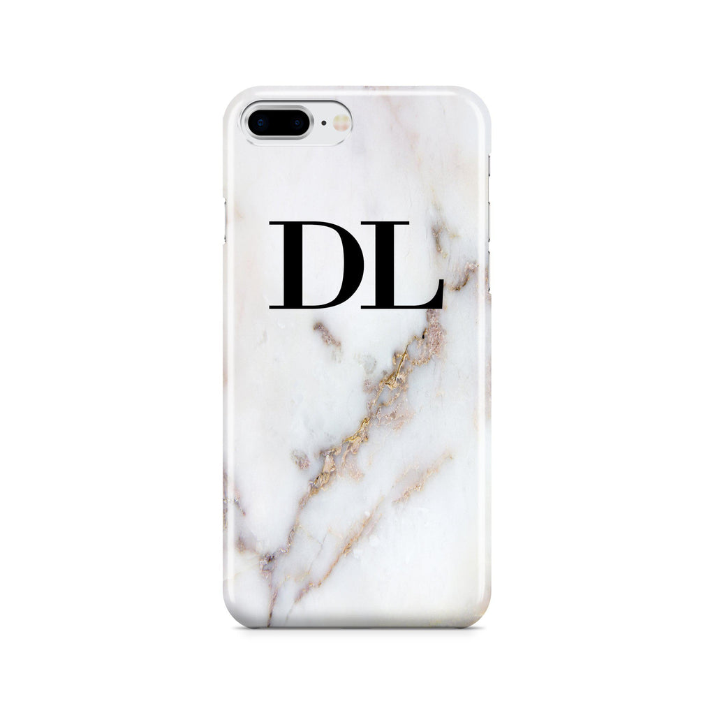 Personalised Gold Stained Marble Initials iPhone 8 Plus Case