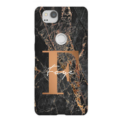 Personalised Slate Marble Bronze Initial Google Pixel 2 Case